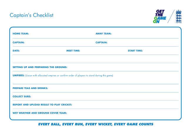 Captains Checklist
